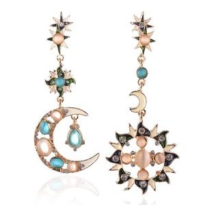 Boho Crystal Sun Moon Asymmetric Dangle Earrings